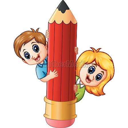 cartoon kids holding pencil