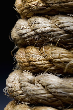 close up of tangled rope