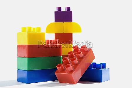 close up of plastic block toys