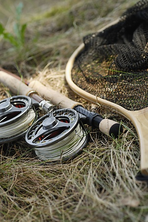 close up of two fishing reels