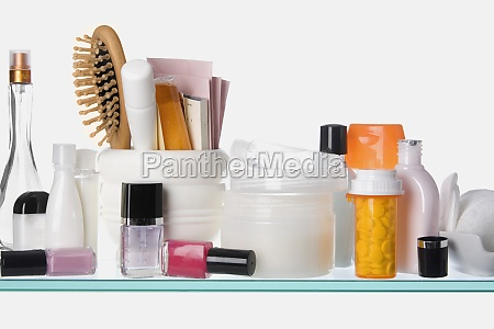 close up of toiletries on a