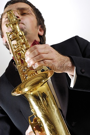 low angle view of a musician