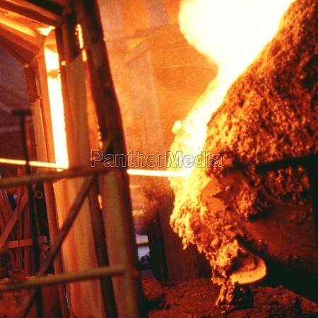 molten steel in a steel mill