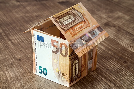 house made from euro banknotes