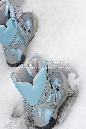 close up of ski boots in