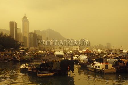 houseboats moored at dock hong kong