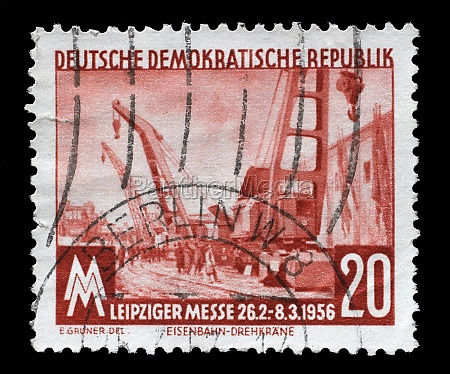 stamp printed in gdr shows leipzig