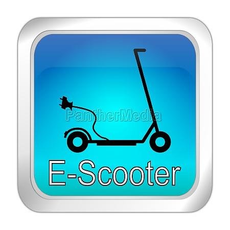 e scooter button blue 3d