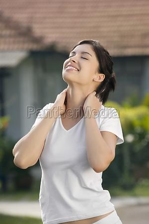 closeup of a young woman exercising
