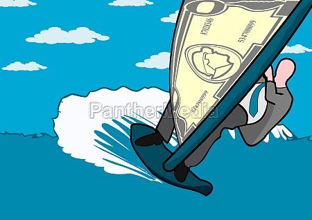 businessman riding a surfboard