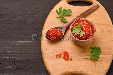 red chum salmon caviar in a