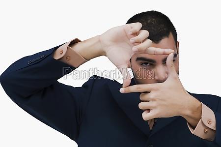portrait of a businessman making a