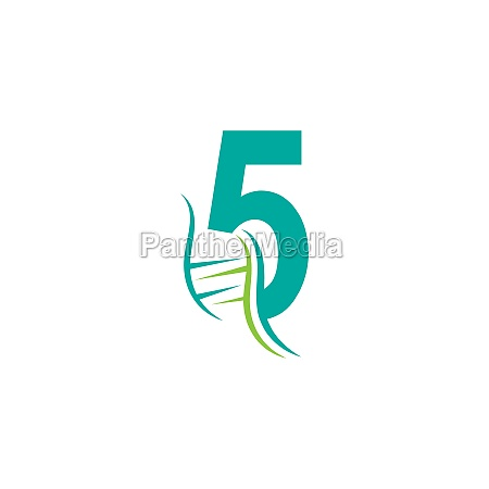 dna icon logo with number 5