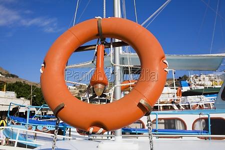 life belt on a boat patmos