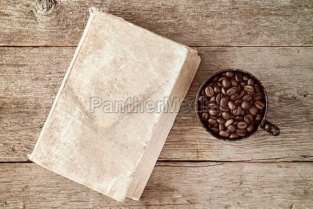 coffee cup and coffee beans with
