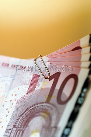 close up of ten euro banknote
