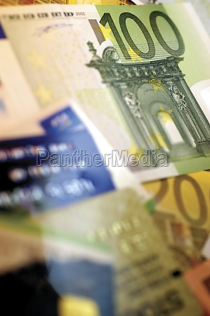 close up of assorted euro banknotes