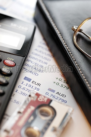 calculator stock market list glasses leather
