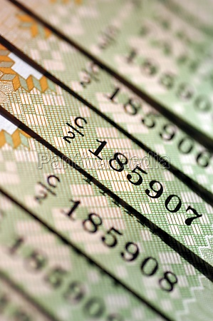 several serial numbers on bank notes