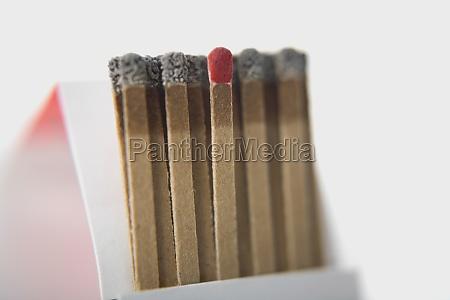 closeup of a matchstick with burnt