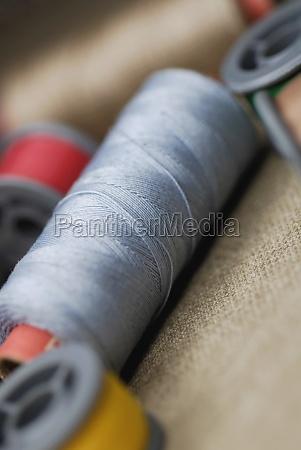 closeup of spools of thread