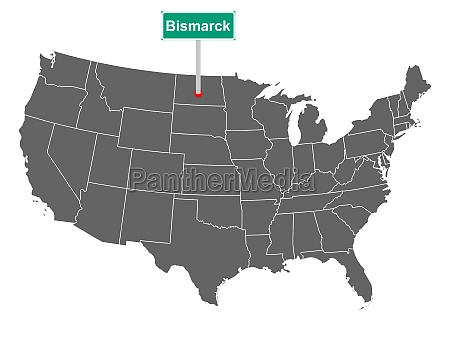 bismarck city limit sign and map
