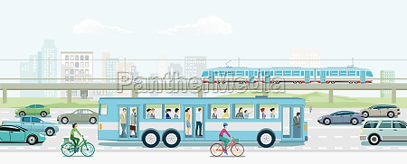 road traffic with elevated train bus