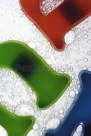 close up of plastic alphabets in