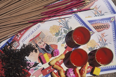 high angle view of incense sticks