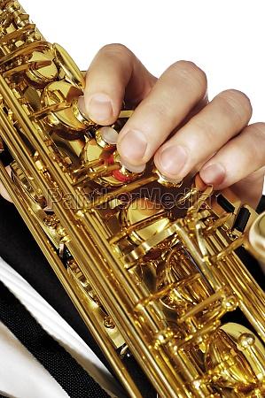 close up of a musicianZs hand