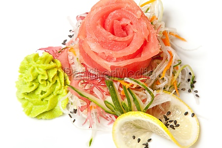 traditional japanese salad with seaweed and