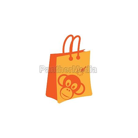 monkey shop bag logo icon design