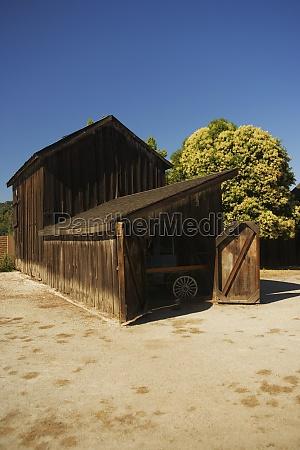 open door of an old wooden