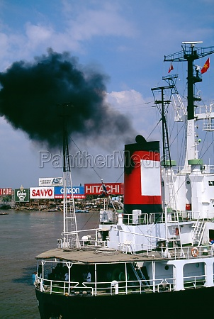 smoke pollution freighter saigon river vietnam