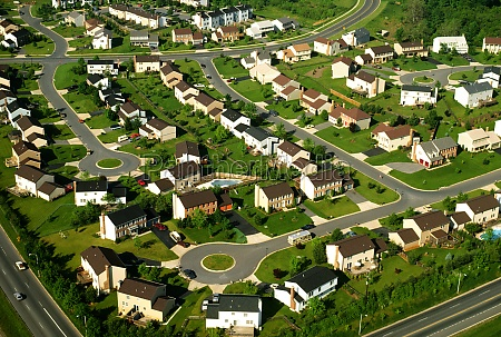 aerial view of suburban housing in