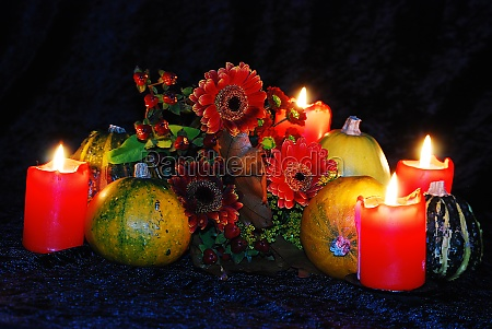 pumpkins and autumn flowers