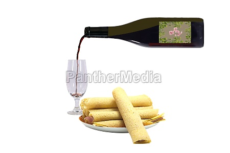 canelloni with red wine plate of