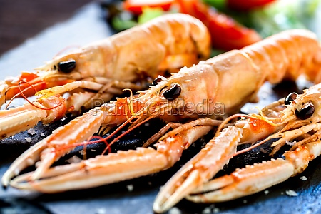 appetizing grilled spiny lobsters