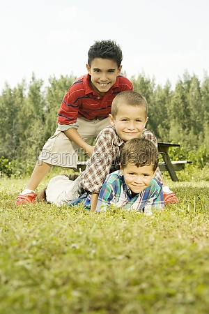 portrait of three boys in the