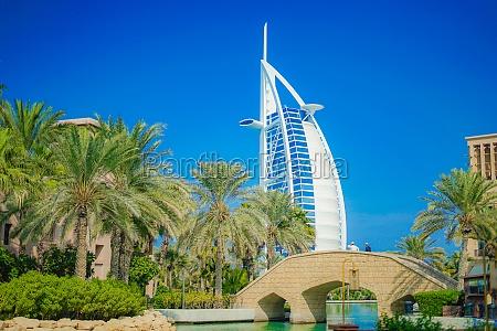 burj al arab and blue sky
