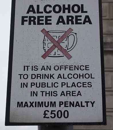 alcohol free area or alcohol ban