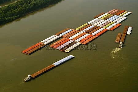 aerial view of grain barges on
