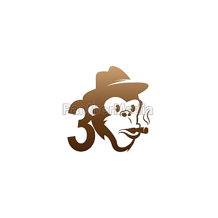 monkey head icon logo with number