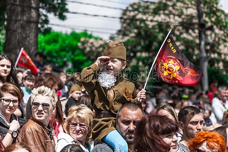 celebrating victory day in russia in