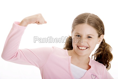 portrait of a girl flexing her