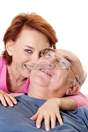 portrait of a senior woman embracing