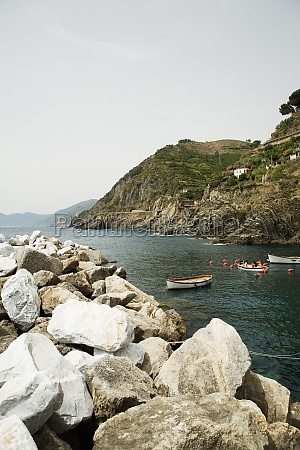 rocks at seaside cinque terre national