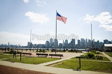 american flag in the park manhattan