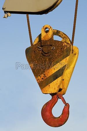 close up of a crane hook