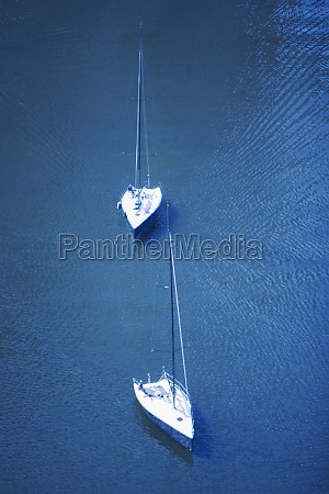high angle view of two sail